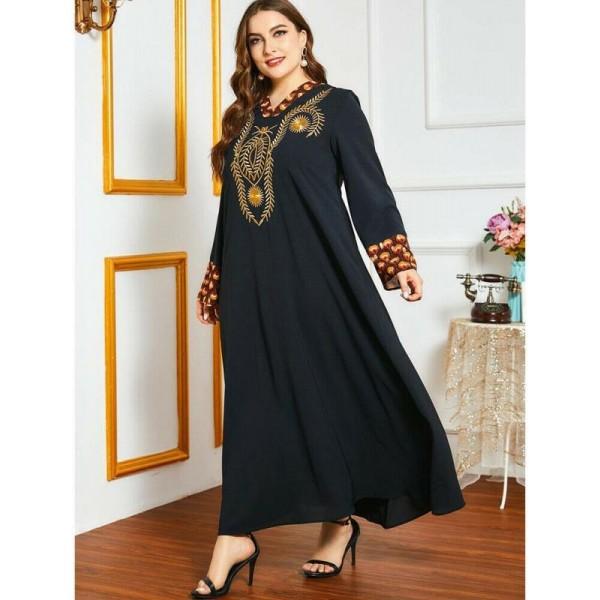 Orientální dlouhé černé Abaya šaty s výšivkou