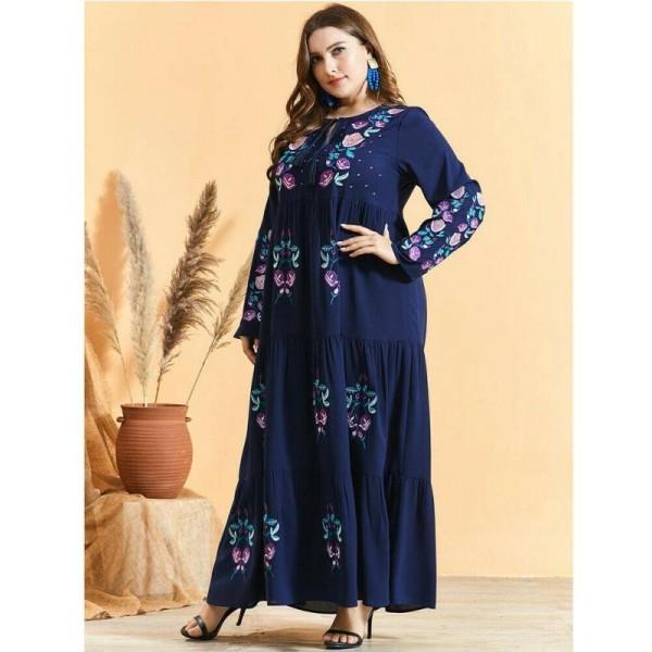 Dámské orientální dlouhé šaty Abaya s výšivkou tmavě modré