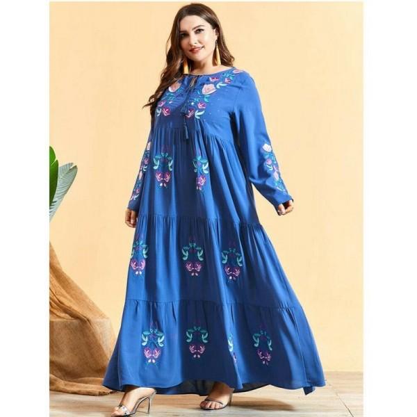 Dámské orientální dlouhé šaty Abaya s výšivkou světle modré