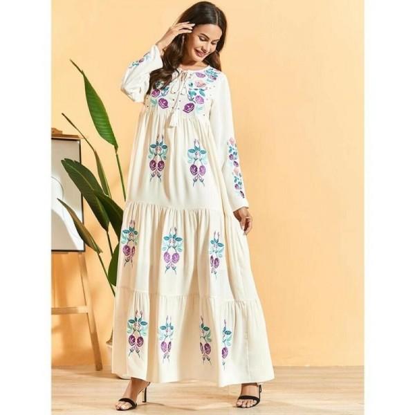 Dámské orientální dlouhé šaty Abaya s výšivkou krémové