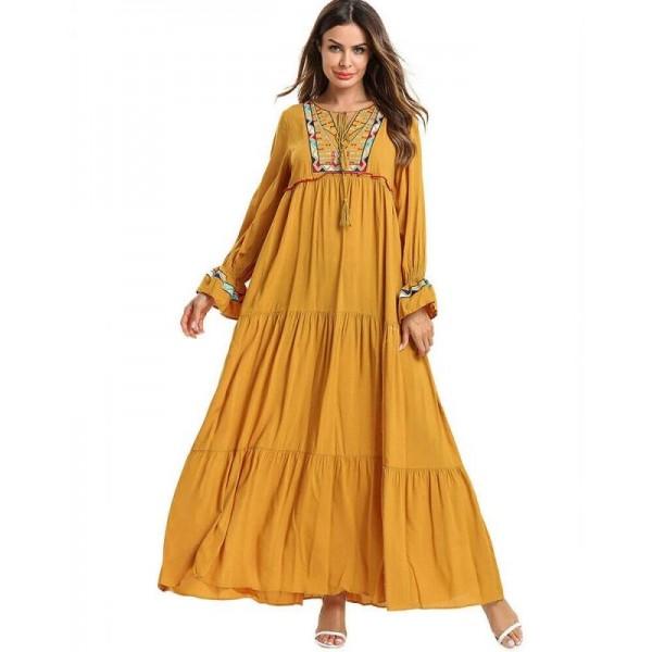 Dámské dlouhé žluté Abaya šaty s výšivkou