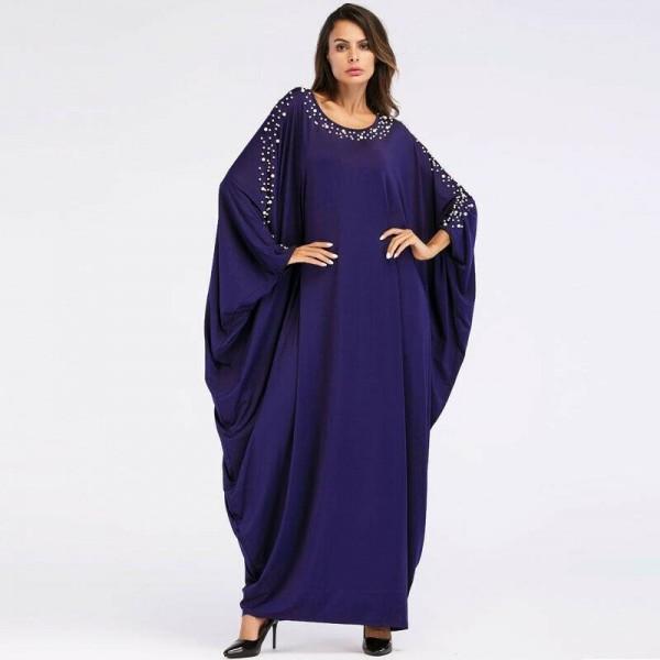 Dámský orientální dlouhý Kaftan - zdobené arabské šaty s perly
