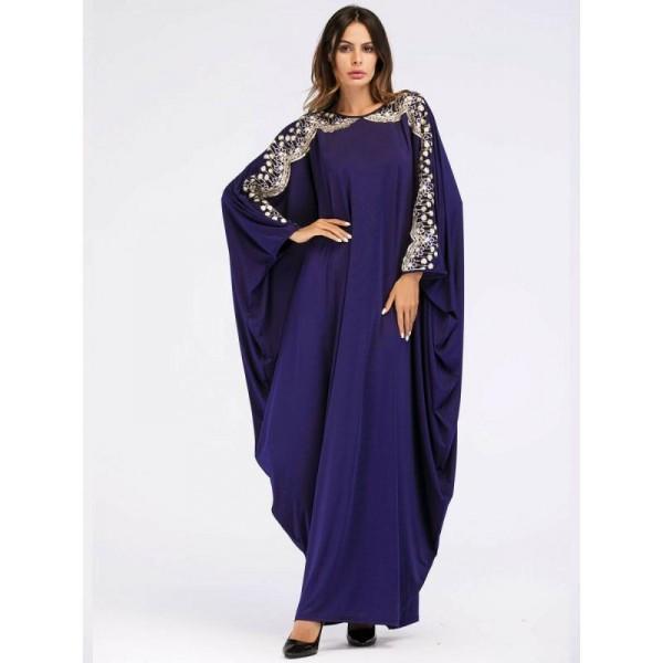 Dámský orientální dlouhý Kaftan - zdobené arabské šaty s výšivkou
