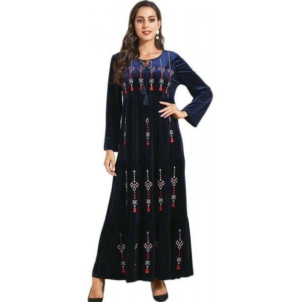 Orientální dlouhé šaty Abaya DUBAJ tmavě modré