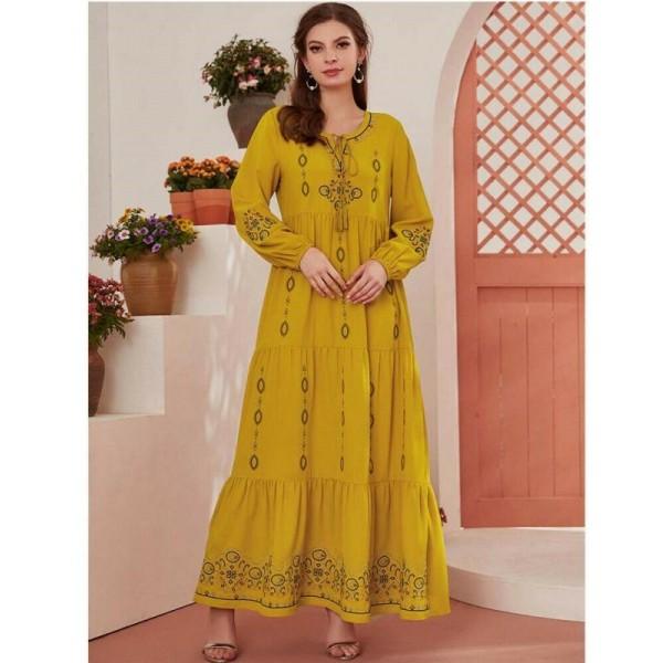 Dámské dlouhé žluté Abaya šaty s květinovou výšivkou