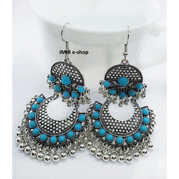 Turecké kovové náušnice s patinou a modrými kameny