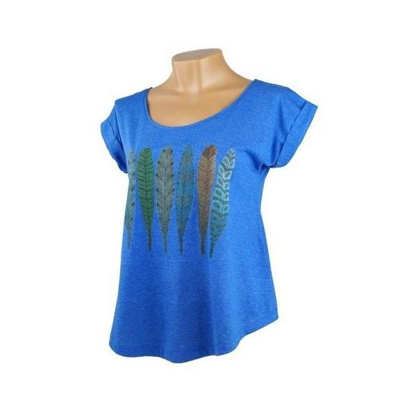 Dámské volné tričko s krátkým rukávem Jóga - pírka