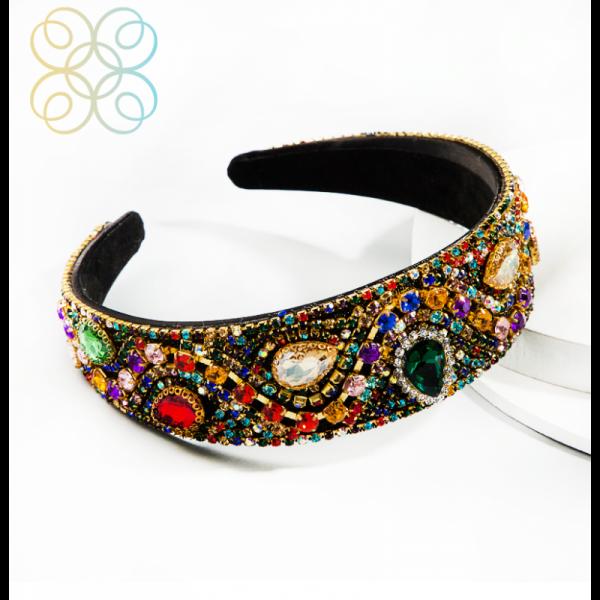 Velká vlasová čelenka orientální zdobená - multicolor