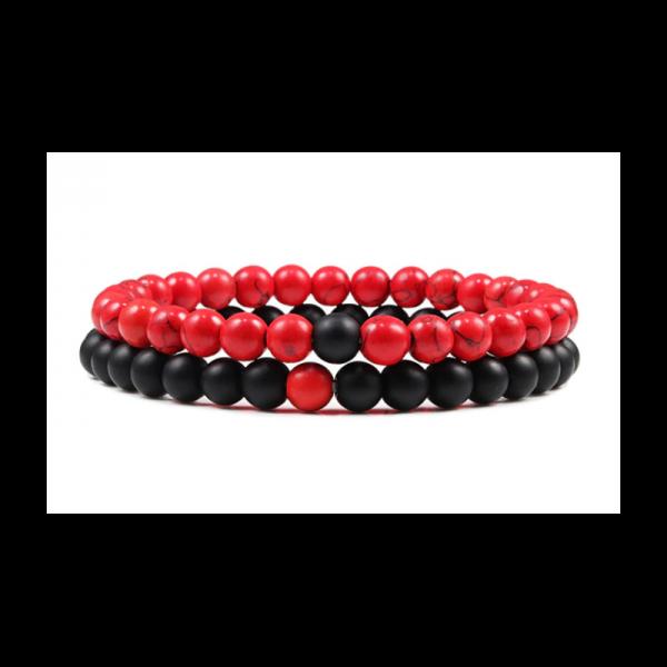 Párové náramky set 2 ks z broušených kamenů - matný onyx a červený howlit