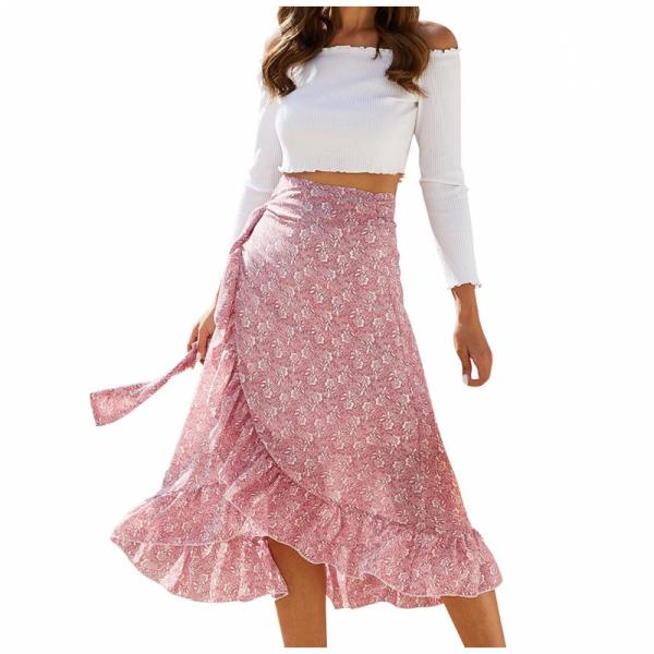Letní květinové zavazovací šifónové sukně s volánky Amber