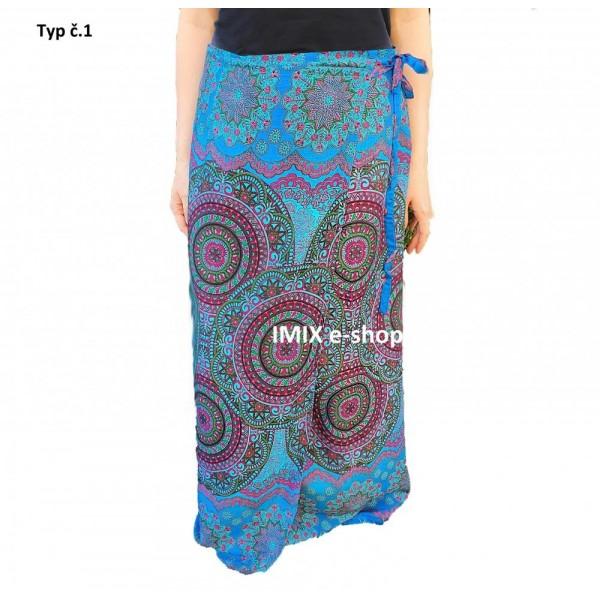 Multifunkční zavinovací dlouhé sukně/šaty/pareo Kruhy mandala