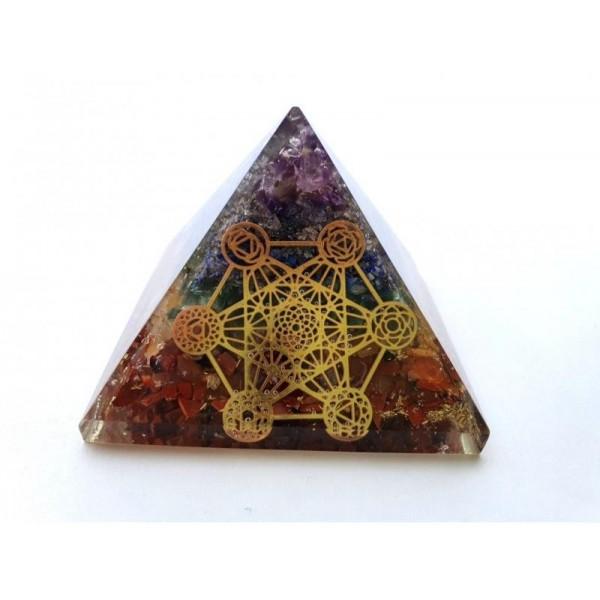 Orgonitová pyramida Čakrová Metatronova kostka 6,5x6,5 cm