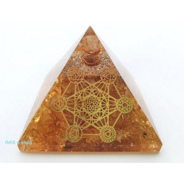 Orgonitová pyramida Citrín a Metatronová kostka 7x7 cm