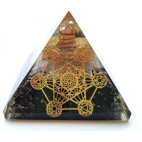 Orgonitová pyramida Spiritualita a Metatronova kostka 7x7 cm