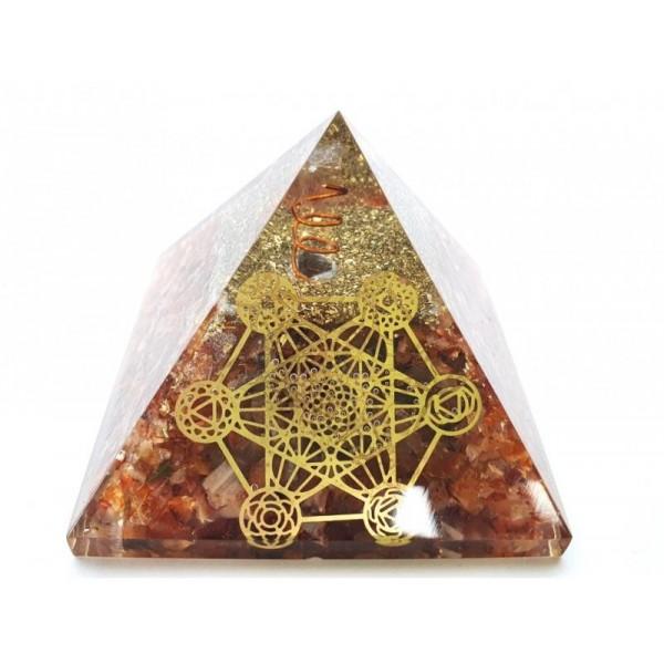 Orgonitová pyramida Karneol a Metatronova kostka 7x7 cm