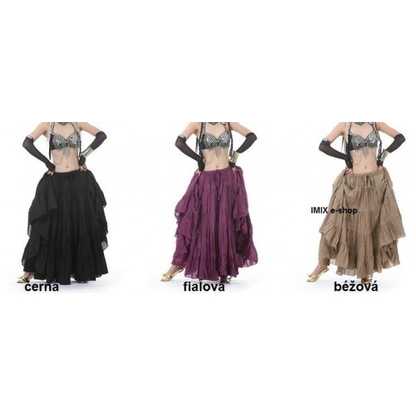 Lněná Tribal-Flamenco sukně JASIR - 16 metrů