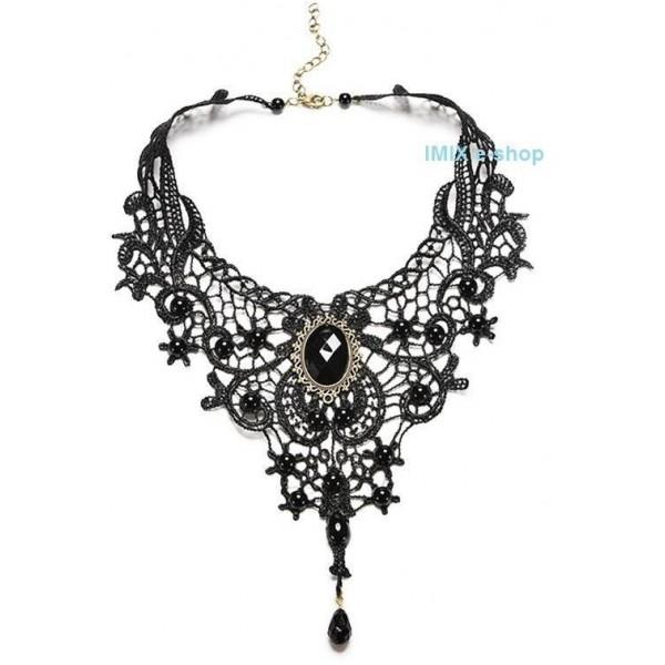 Gothic Retro Tribal náhrdelník dlouhý s kamenem