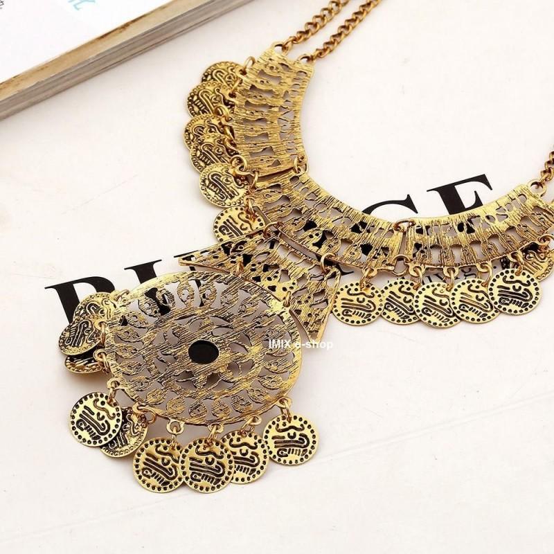 Turecký Tribal kovový náhrdelník s penízky