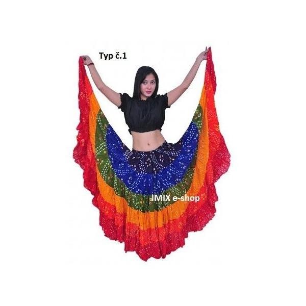 Puntikované bavlněné Tribal sukně BAREVNÉ - 23 m