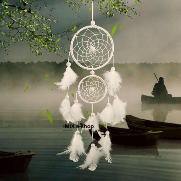 Větší bílý lapač zlých snů - 46 cm