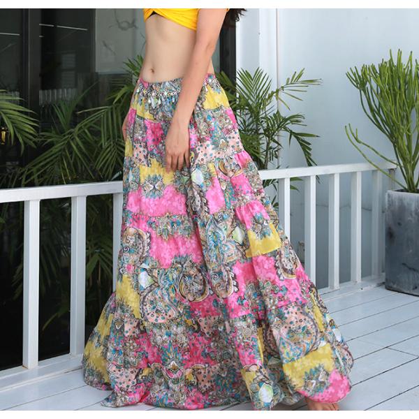 Květinová široká sukně z našívaných dílů SALIMA
