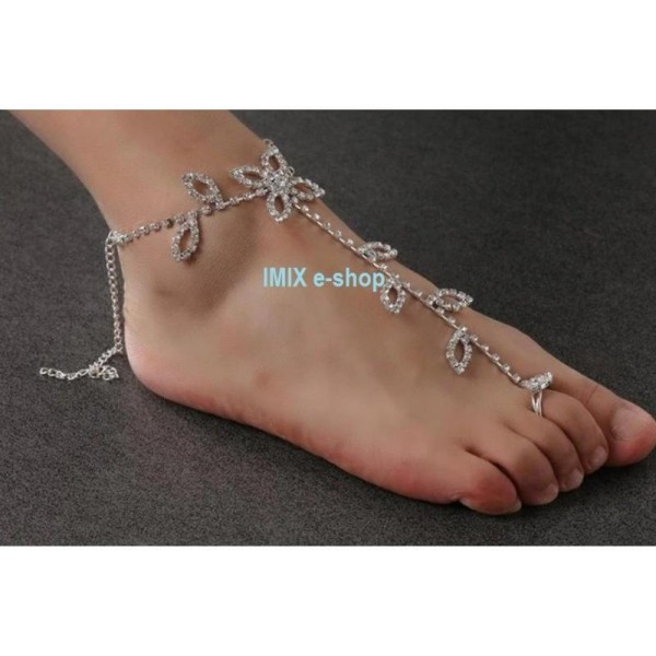 Štrasový šperk na nohu s prstýnkem č.003