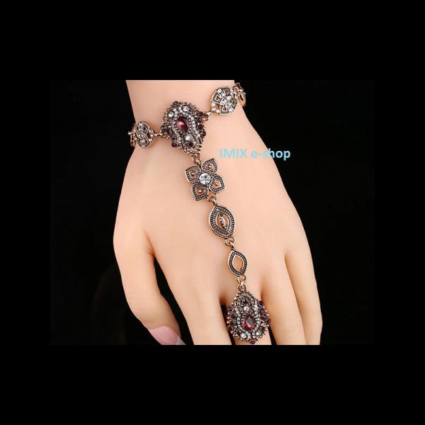 Orientální náramek s prstýnkem zdobený