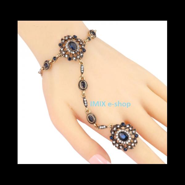 Orientální Bollywood náramek s prstýnkem ASIRA modrý