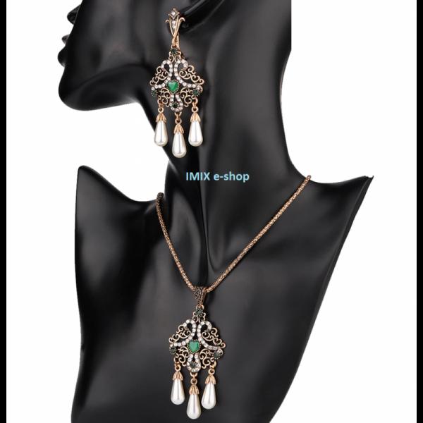 Asira filigránový orientální set perlový zelený