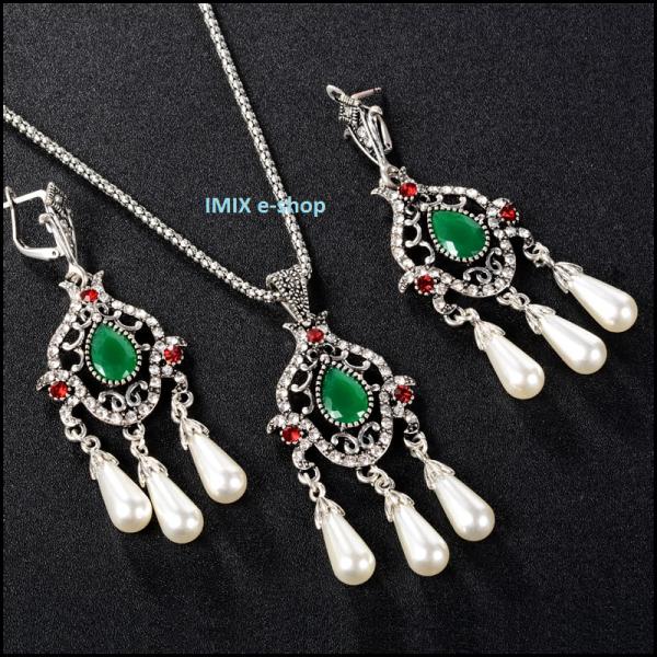 Asira filigránový orientální set perlový Stříbrná