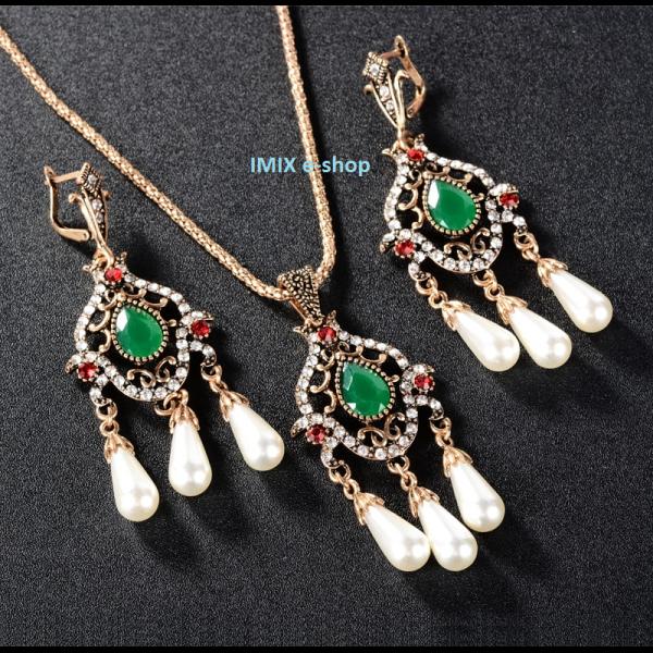 Asira filigránový orientální set perlový Zlatá