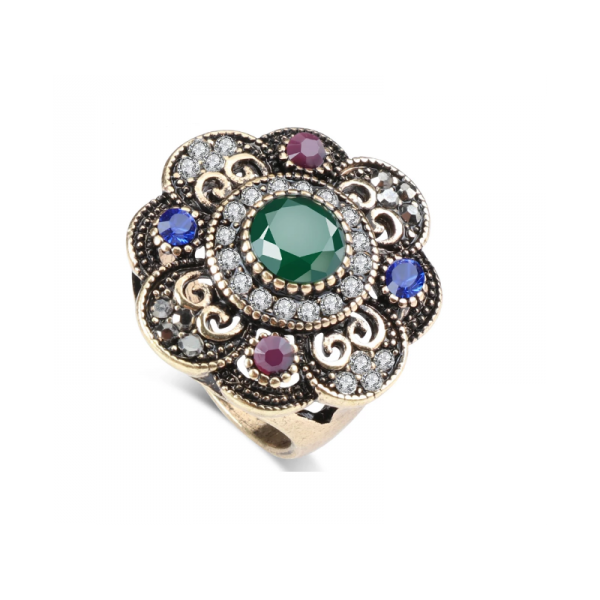 Ozdobný orientální prsten Asira se zeleným kamenem