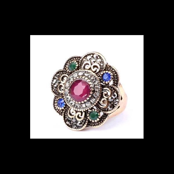 Ozdobný orientální prsten Asira s červeným kamenem