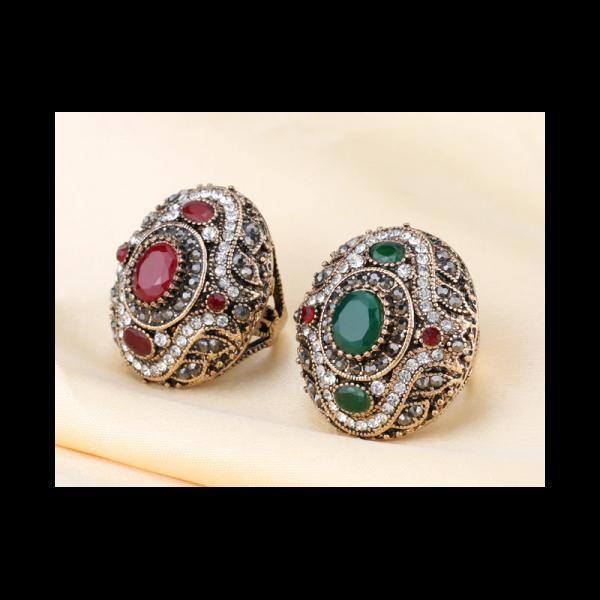 Ozdobný orientální prsten Asira Maxi se zeleným kamenem