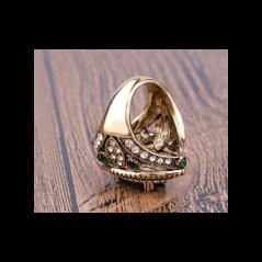Zdobený velký prsten Asira s oválným kamenem Modrá se zelenou