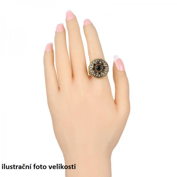 Orientální prsten Asira drobný kruh s barevnými kameny