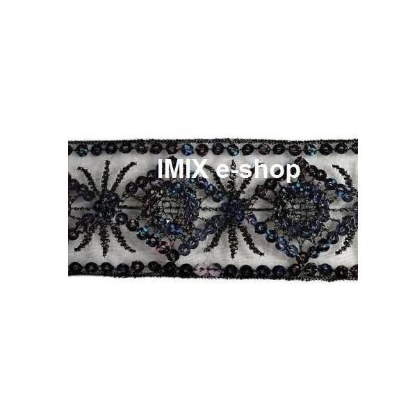 Flitrový prýmek černý č.PR007