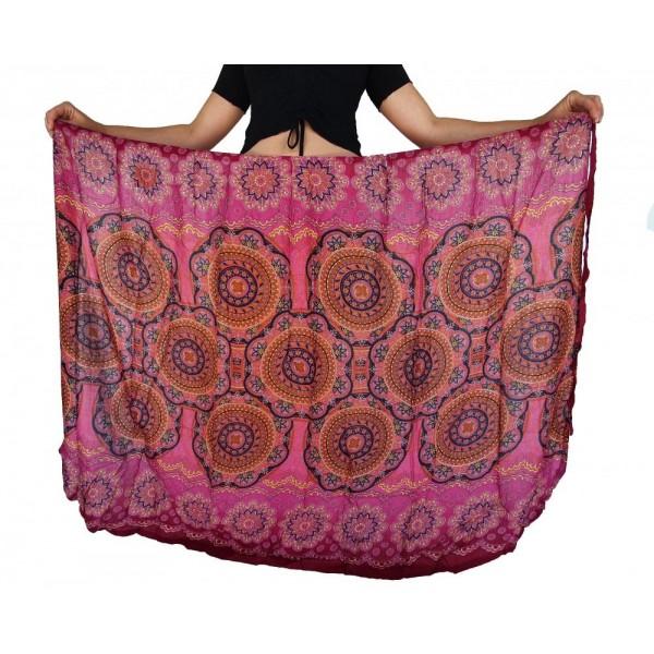Multifunkční zavinovací dlouhá sukně/šaty/pareo Kruhy Mandala