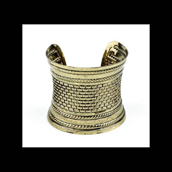 Široký náramek kovový s orientálními vzory Kleopatra