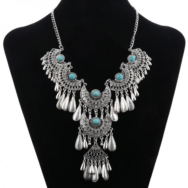 Tribal Boho orientální set náhrdelník s náušnicemi Staro-stříbrná- více barev
