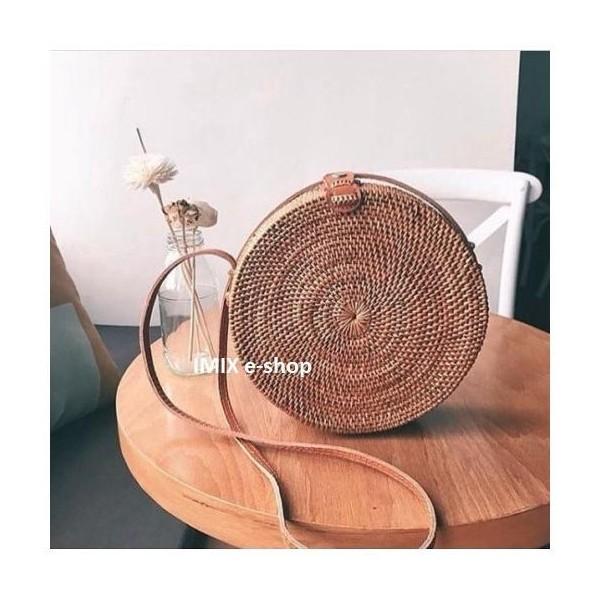 Ratanová kabelka Natural Bali kruhová přírodní s kůží