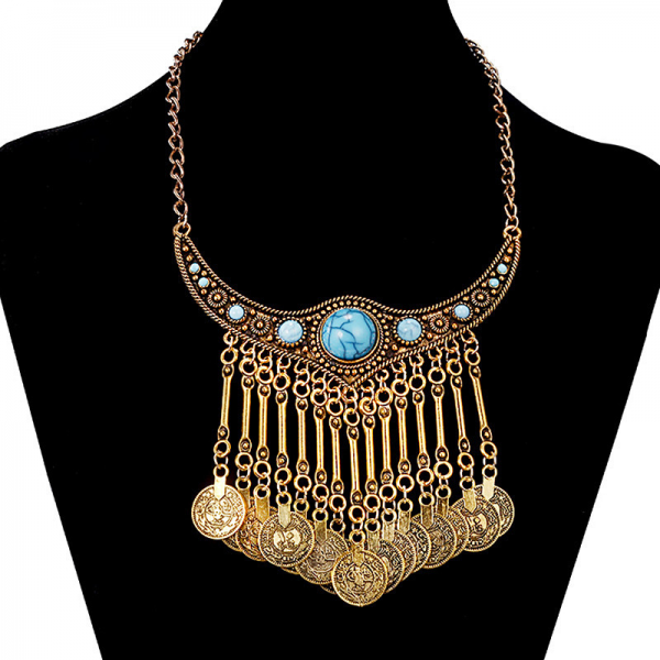 Turecký náhrdelník s tyrkysovým kamenem