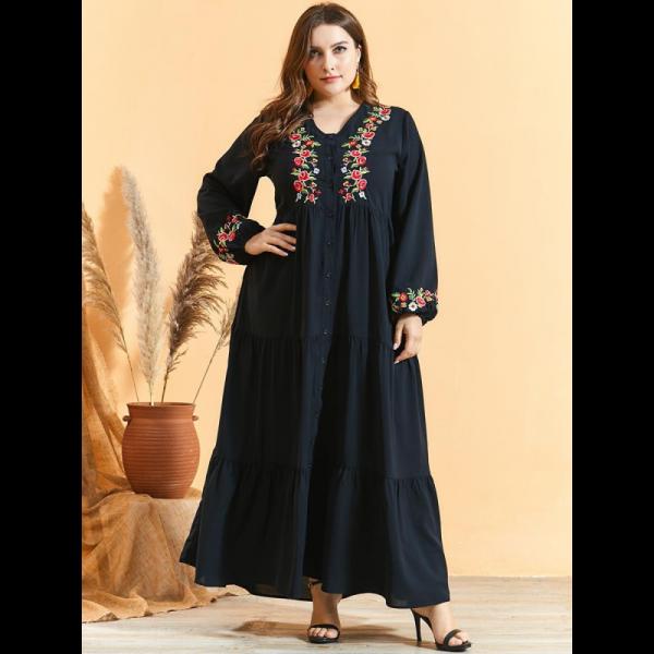 Orientální dámské dlouhé šaty Abaya černé s květinovou výšivkou