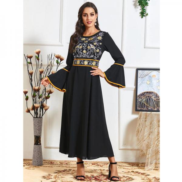 Orientální dámské dlouhé šaty Abaya černé s úzkým pasem