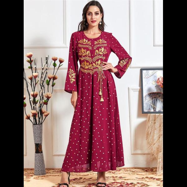 Orientální dámské dlouhé šaty Abaya vínové se zlatou výšivkou