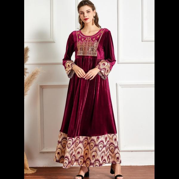 Abaya dámské sametové orientální vínové šaty