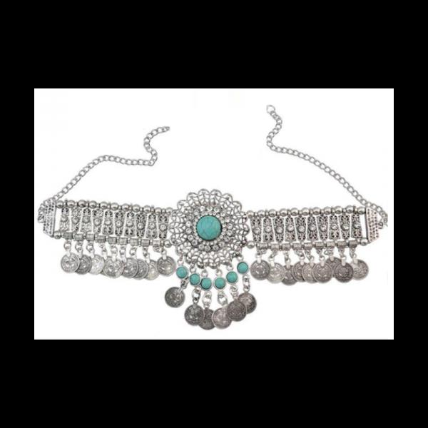 Filigránový velký náhrdelník s tyrkysovými kameny a zirkony