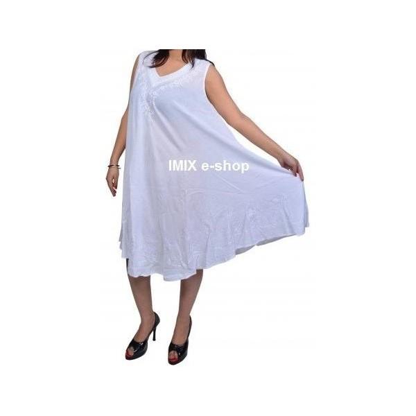 Letní vzdušné plážové volné šaty vyšívané