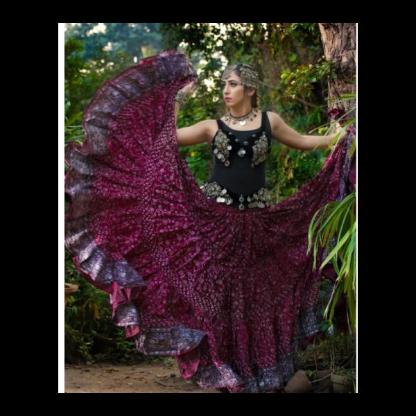 Skladem: Tribal sukně Natanja 23 metrů - vínová