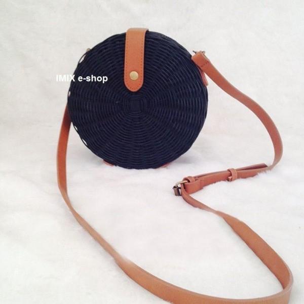 Kulatá ratanová kabelka černá